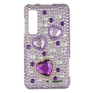 Verizon Motorola Droid 3 Accessory   Pink Heart of Hearts Full Crystal Diamonds Rhinestone Bling Protective Case Cover Design + Free Magic Soil Crystal Cell Phones & Accessories