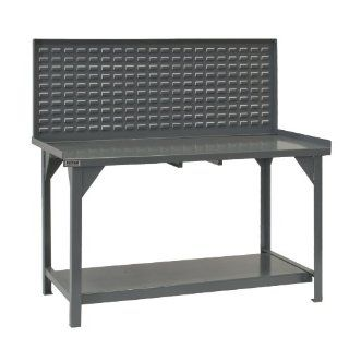 "Durham Heavy Duty Steel/Iron Workbench with Back/End Stops and Louvered Panel, DWB 3072 BE LP 95, 4000 lbs Capacity, 30"" Length x 72"" Width x 58"" Height, Gray Powder Coat Finish Science Lab Benches"