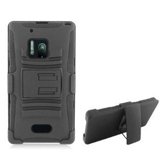 Extreme Rugged Impact Armor Hybrid Hard Case Cover Beltclip Holster With Stand For Nokia Lumia 928 Laser, Black Cell Phones & Accessories