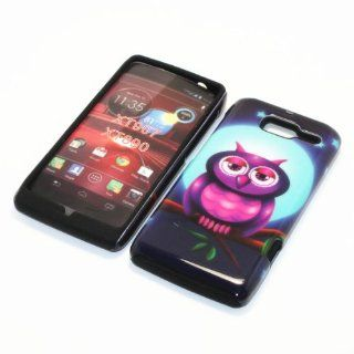 For Motorola Droid Razr M XT907 / Motorola RAZR i XT890 2 in 1 Hybrid Cover Case Full Moon Owl PC + Silicone (Black) Cell Phones & Accessories