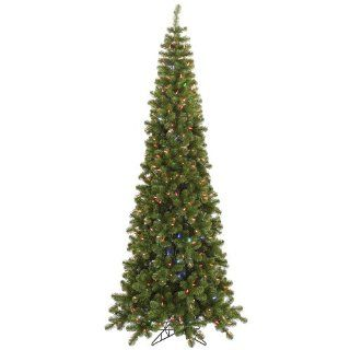 7.5' Pencil Artificial Christmas Tree   Color Changing LED Lights