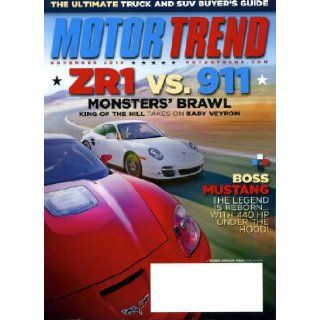 Motor Trend November 2010 Corvette ZR1 vs Porsche 911 on Cover, Ford Mustang Boss 302, Ultimate Truck & SUV Buyer's Guide, Scion tC, Honda Odyssey, Hyundai Equus Motor Trend Magazine Books