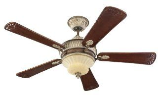 Monte Carlo 5EPR60BRD English Palace, 60 Inch 5 Blade Ceiling Fan with Remote and Light Kit, British Bronze Motor Finish and Carved Tung Wood Blades