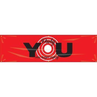 "Accuform Signs MBR934 Reinforced Vinyl Motivational Safety Banner ""Only YOU can target safety"" with Metal Grommets, 28"" Width x 8' Length, Black/White on Red Industrial Warning Signs"