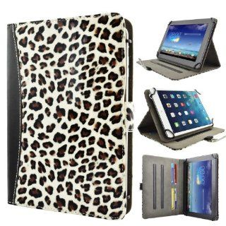 "caseen Universal Tablet Case Cover 8.9"" 9.7"" 10"" 10.1"" Inch (White Cheetah/Black) [Adjustable Multi Angle Stand Folio] for Android, D2 Pad 912 927, Apple iPad, Windows, Acer Iconia, Ainol, Ematic, ASUS Transformer Book T100, MeMO Pad, V"