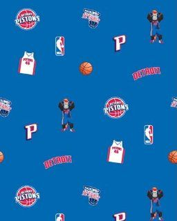 Detroit Pistons NBA Basketball Blue Print Fleece Fabric by the Yard s035pistonss