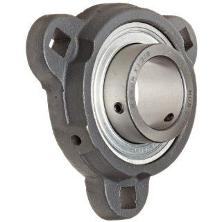"Hub City FB150URX1 3/8 Flange Block Mounted Bearing, 3 Bolt, Light Duty, Relube, Setscrew Locking Collar, Narrow Inner Race, Ductile Housing, 1 3/8"" Bore, 1.73"" Length Through Bore, 3.937"" Mounting Hole Spacing"