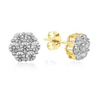 14k Yellow Gold Diamond Cluster Stud Earrings (1.00 cttw, I J Color, I2 I3 Clarity) Jewelry