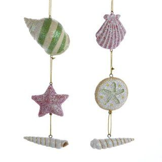"Club Pack of 12 Beach Party Porcelain Tropical Seashell Christmas Ornaments 5.5""   Christmas Ball Ornaments"