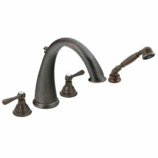 Moen T922ORB Kingsley Two Handle High Arc Roman Tub Faucet and Hand Shower without Valve, Oil Rubbed Bronze   Bathroom Faucets
