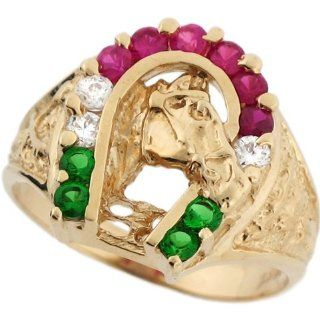 10k Solid Gold Pretty Horse Horseshoe Red White and Green CZ Mens Ring Jewelry