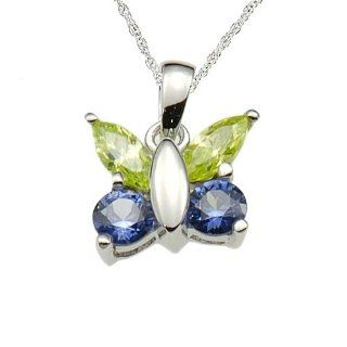 925 Sterling Sliver Green/Blue Cubic Zirconia Butterfly Pendant/Necklace 18 Inches 925 Silver Chain Jewelry