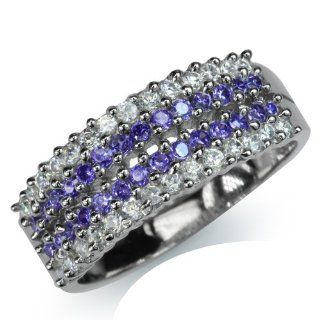 Amethyst Purple & White CZ Gold Plated 925 Sterling Silver Journey Ring Size 7 SilverShake Jewelry