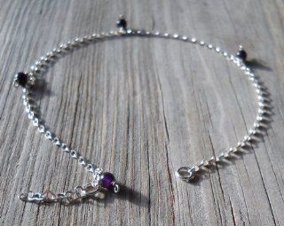 Amethyst 925 Sterling Silver Anklet Amethyst 5mm Beads 925 Sterling Silver Chain, wire, heart Shaped Chain, split, spring Rings 24 26cm Long Handmade, brand New  Wedding Ceremony Accessories