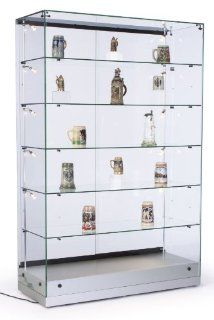 "48""w Glass Display Cabinet with 5 Height Adjustable Glass Shelves and 10 Side Lights, Curio Cabinet with Lockable Sliding Door   Silver, MDF Base   Home Office Furniture"