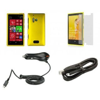 Nokia Lumia 928   Premium Accessory Kit   Yellow Hard Shell Case + ATOM LED Keychain Light + Screen Protector + Micro USB Cable + Car Charger Cell Phones & Accessories
