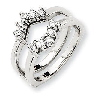 14k White Gold Diamond Ring Guard Mounting Jewelry