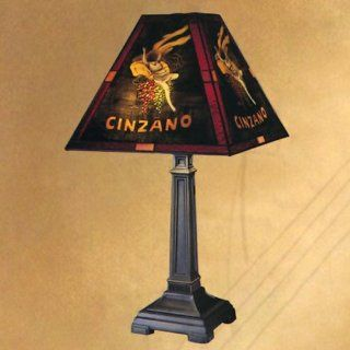 Dale Tiffany 10250/958 Cinzano Table Lamp, Antique Brass and Glass Shade