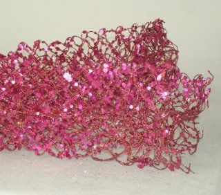 5' Sugared Fruit Decorative Pink Glittered & Wired Mesh Net Christmas Garland