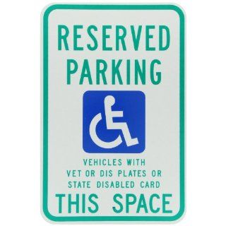 "Brady 91388 18"" Height, 12"" Width, B 959 Reflective Aluminum, Blue And Green On White Color Handicapped Sign Industrial Warning Signs"