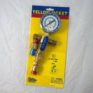"Yellow Jacket 93852 SuperEvac Evacuation Manifold, Single Valve, Lo Side Gauge Mount, 3/8"" F Flare Industrial Pressure Gauges"
