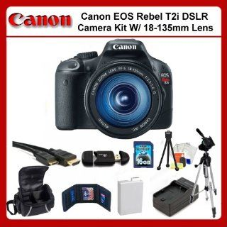 Canon EOS Rebel T2i Digital SLR Camera Kit with 18 135mm Lens. Package Includes Canon EOS Rebel T2i, Canon 18 135mm f/3.5 5.6 IS Lens, Extended Life Battery, Rapid Travel Charger, 16GB Memory Card, Memory Card Reader, Memory Card Wallet, HDMI Cable, 50&qu