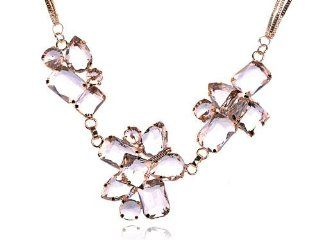 Gold Tone Triple Strand Ice Cube Chunky Iceberg Faceted Crystal Gem Necklace Jewelry