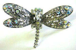 Top Quality Womens Rhinestone Medium Dragon Fly Metal Claw Hair Clip Antique Silver 6 Colors (Clear)  Beauty