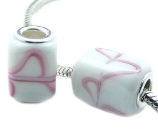 Hidden Gems (959) Silver Plated Core Glass Cube Bead, Will Fit Pandora/Troll/Chamilia Style Charm Bracelets Jewelry