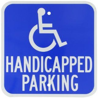 "Brady 91358 12"" Height, 12"" Width, B 959 Reflective Aluminum White On Blue Color Handicapped Sign, Legend ""Handicapped Parking (With Picto)"" Industrial Warning Signs"