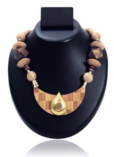 Subtle Wooden Crescent Shaped Pendant Beaded Strand Necklace Fashion Jewelry Gift Ideas for Her Jewelry