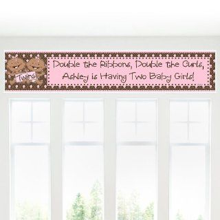 Twin Modern Baby Girls African American   Personalized Baby Shower Banners Toys & Games