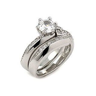 925 Sterling Silver Cubic Zirconia Wedding Set Ring   RingSize 6 Jewelry