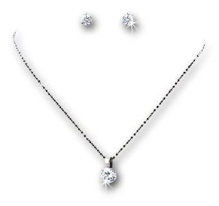 Silver Tone Round Cubic Zirconia Crystal Necklace Earring Set Jewelry Sets Jewelry