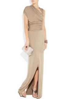 Khaki One Shoulder Slim Elactic Women's Slit Long Evening Dress Long Dresses For Women For Evening