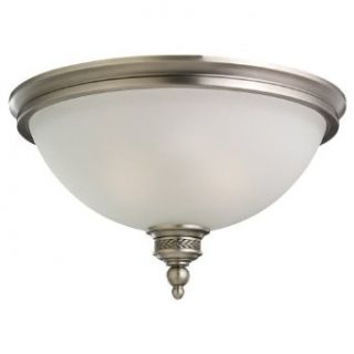 Sea Gull Lighting 75350 965 2 Light Ceiling Flush Mount Fixture, Etched Ripple Glass Shade and Antique Brushed Nickel