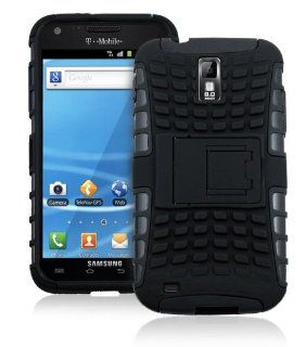 JKase DIABLO Series Tough Rugged Dual Layer Protection Case Cover with Build in Stand for Samsung Galaxy S II (SGH T989) T Mobile ONLY   Retail Packaging   Black Cell Phones & Accessories
