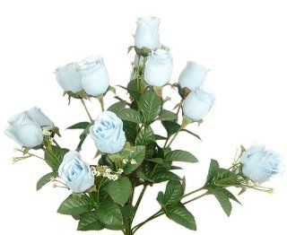 "17"" Elegant Raindrop Rose Bush Silk Flowers Wedding Bouquet Baby Blue 989   Artificial Shrubs"