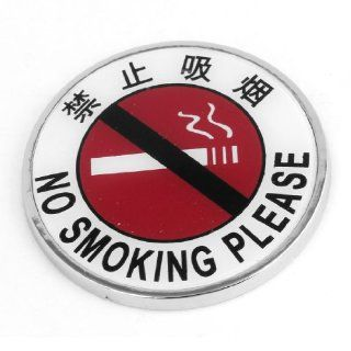 72cm Dia Round NO Smoking Printed Car Auto Sticker Badge Emblem White Red Automotive