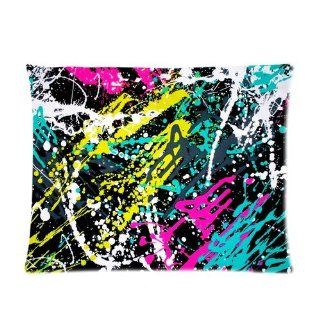 Colorful Neon Paint Splatters on Black Custom Pillowcase Standard Size 20x26 CP 967