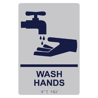 ADA Wash Hands With Symbol Braille Sign RRE 992 MRNBLUonSLVR  Business And Store Signs
