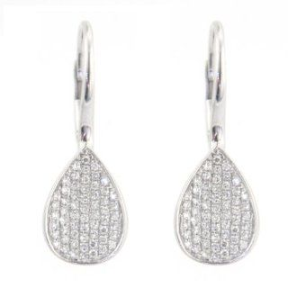 14k White Gold Pave Set Teardrop Diamond Earrings Jewelry