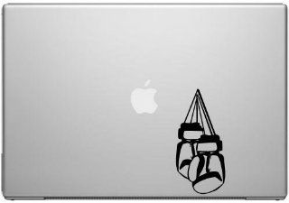 "Hanging Boxing Gloves   Black Vinyl Decal for 13"" Macbook"