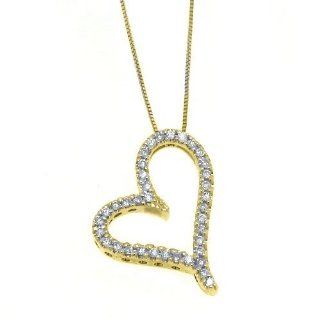 14k Yellow Gold Diamond Heart Pendant .53 Carats Pendant Necklaces Jewelry