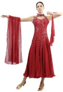 Smarts Dance Womens Sexy Ballroom Modern Waltz Tango Smooth Standard Foxtrot Dance Gowns Red Us 8 Uk 10sk bd8  Athletic Dance Dresses  Sports & Outdoors