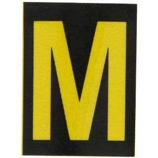 "Brady 5890 M Bradylite 1 7/8"" Height, 1 3/8 Width, B 997 Engineering Grade Bradylite Reflective Sheeting, Yellow On Black Reflective Letter, Legend ""M"" (Pack Of 25) Industrial Warning Signs"