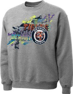Detroit Tigers Hooded Sweatshirt  Mitchell & Ness Detroit Tigers Gray Stacked Crewneck Sweatshirt  Sports Fan Apparel  Sports & Outdoors