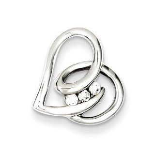 Sterling Silver Rhodium Plated Cz Heart Slide, Best Quality Free Gift Box Satisfaction Guaranteed Jewelry