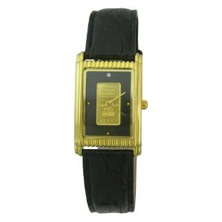 Consort Men's AM9832/01A03XX Genuine Swiss Gold Ingot Diamond Black Dial Leather Strap Watch Watches