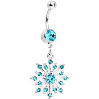 Aqua Gem Sparkling Snowflake Belly Ring Body Candy Jewelry